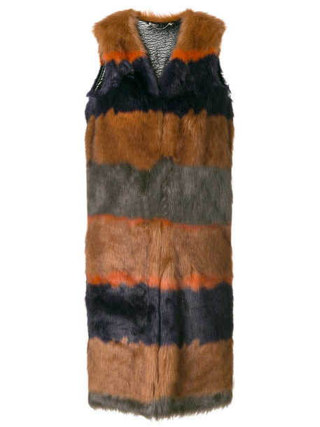 Diesel coat fur fox women wool brown