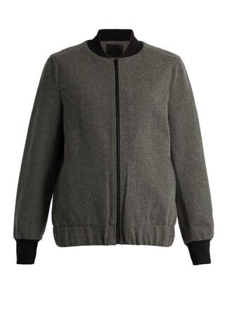 jacket bomber jacket wool grey