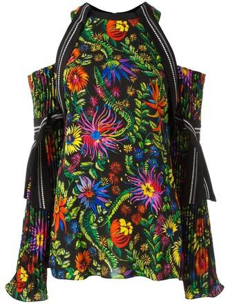 blouse women spandex floral black silk top