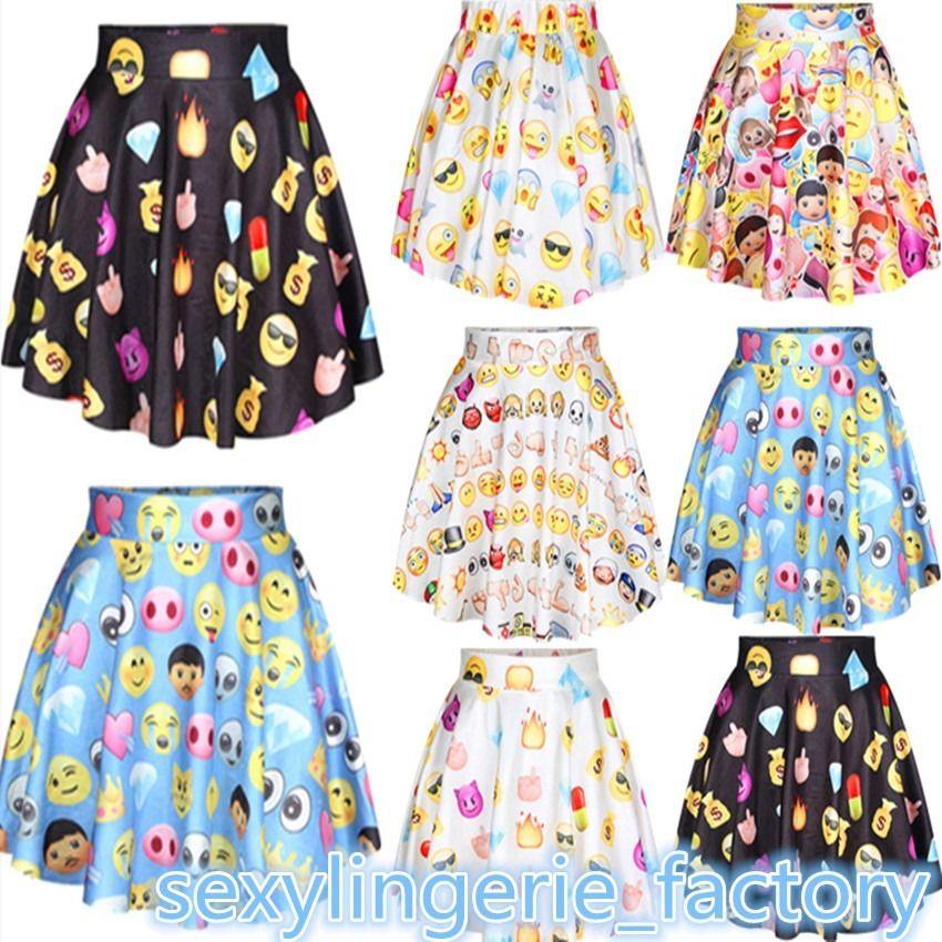 Women emoji print high waist pleated short skirt harajuku emoji smiley emoticon