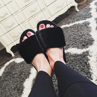 shoes mink slide shoes sandals fur givenchy
