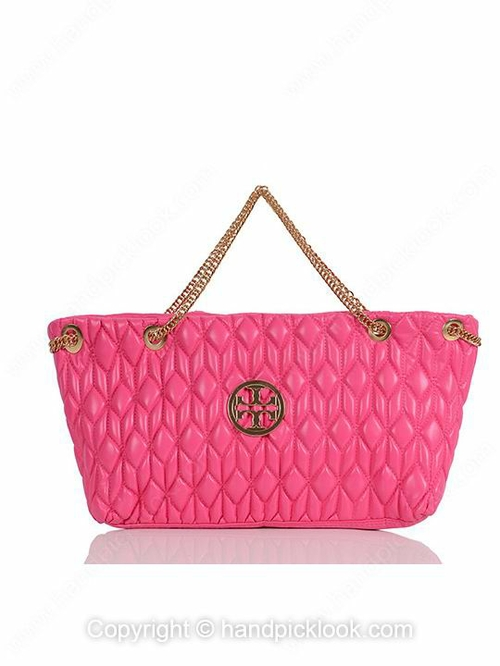 Fuchsia Quilted Chain PU Leather Shoulder Bag - HandpickLook.com