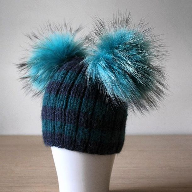 6146e0071f2 hat fur pom pom hat hat with 2 pom poms fur pom pom beanie stripes green