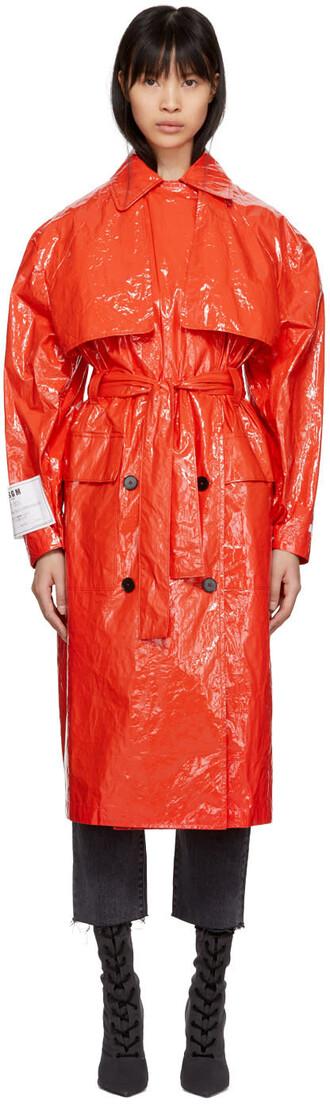 coat trench coat plastic red
