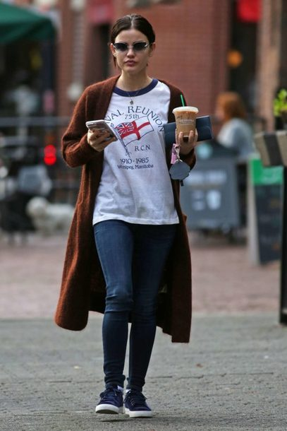 shoes sneakers cardigan streetstyle lucy hale fall outfits