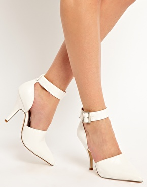 Faith Chanell White Pointed Heeled Shoes at ASOS