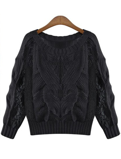 Black Long Sleeve Contrast Lace Cable Knit Sweater - Sheinside.com