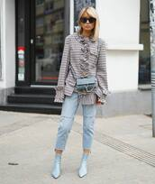 shoes,blue boots,jeans,tumblr,boots,ankle boots,denim,blue jeans,cropped jeans,top,grey top,sunglasses