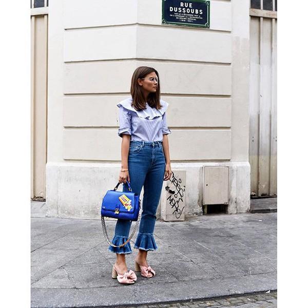 Jeans Tumblr Shirt Blue Shirt Ruffle Ruffle Shirt Denim Kick Flare Bag Blue Bag Mules