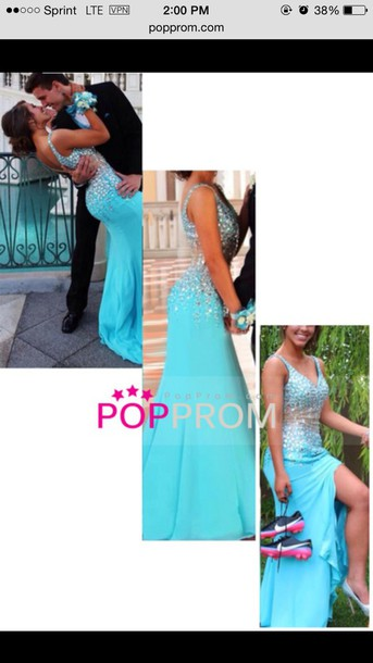 dress prom v neck slit