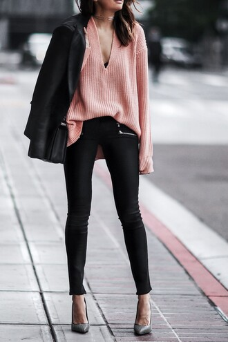 fashionedchic blogger sweater jacket jeans shoes bag pink sweater skinny pants pumps high heel pumps