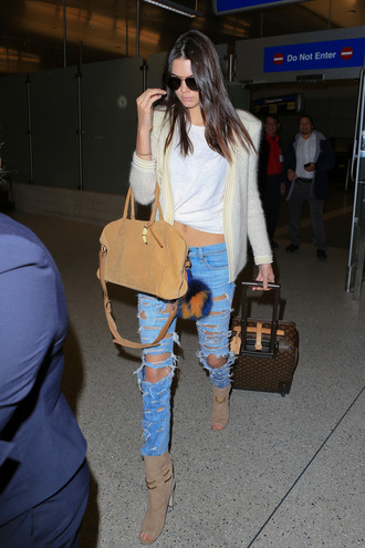 cardigan jeans kendall jenner ripped jeans denim