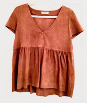 shirt,suede,copper,brown,blouse,suede shirt,orange,short sleeve