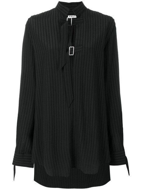 Aalto - oversized striped buckle strap shirt - women - Viscose/Wool - 40, Black, Viscose/Wool