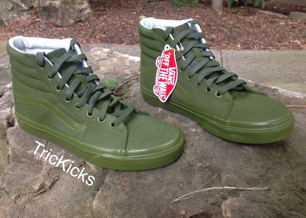 olive green vans sk8 hi
