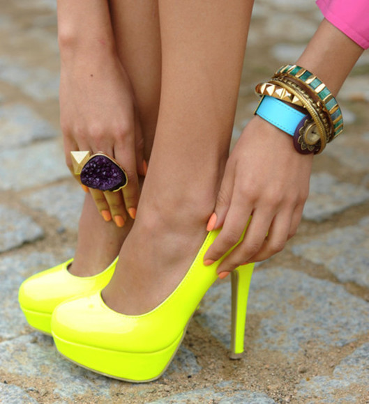 shoes high heels yellow neon jewels