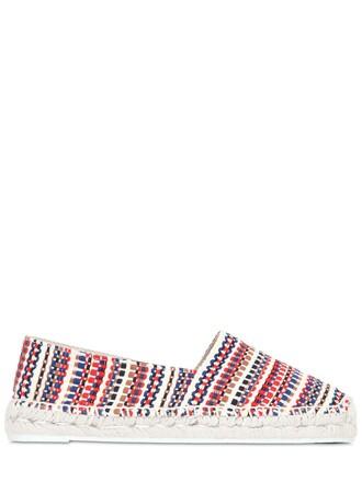 folk espadrilles cotton white blue red shoes