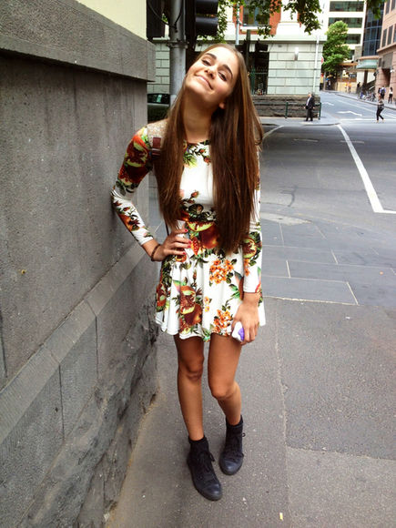 dress long sleeved dress floral dress black boots black combat boots fall fashion autumn, winter combat boots shoes bag flowers white orange short white dress floral long sleeve green pomegranate orange flowers long sleeves long sleeved skater dress longsleeved dress clothes girls clothes tumblr hair vintage spring 2013 stretchy 70's