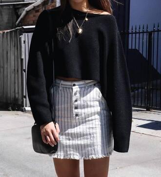 skirt tumblr mini skirt white skirt stripes striped skirt sweater black sweater cropped sweater bag black bag