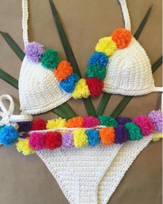 swimwear girl girly crochet crochet bikini bikini top bikini bikini bottoms pom poms white colorful two-piece swimwear two piece