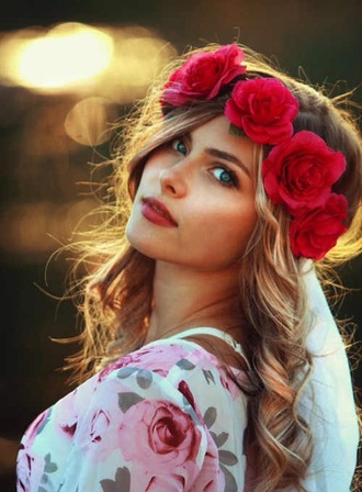 hair accessory red floral crown rose