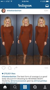 dress,khloe kardashian,sweater dress,brown dress,bodycon dress,long sleeve dress,instagram,kardashians,keeping up with the kardashians,bodycon,midi,midi dress,celebrity,celebrity style,celebstyle for less,sexy,sexy party dresses,party dress,sexy dress,date outfit,birthday dress,club dress