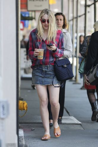 skirt denim denim skirt sandals shirt plaid shirt dakota fanning shoes