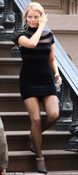 shoes pants dress margot robbie naomi lapaglia wolf of wall street 90s style turtleneck bodycon dress mesh dress the wolf of wall street black little black dress classy dress black sexy short
