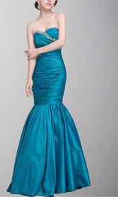 teal dress,mermaid prom dress,sweetheart dress,long prom dress,formal dress,evening dress,taffeta prom dresses