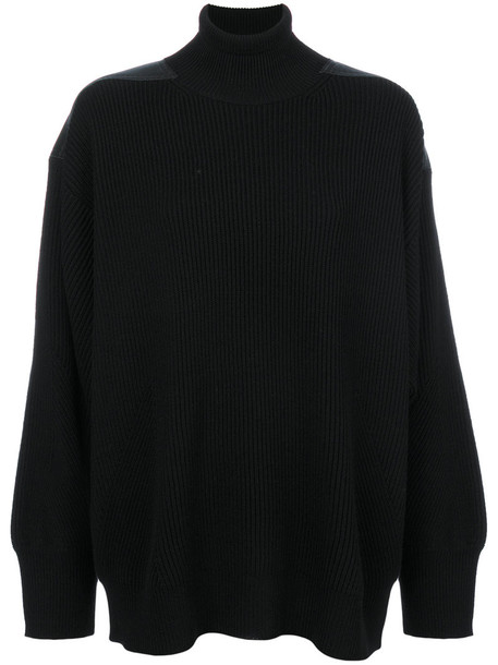 Stella McCartney - shoulder panel turtleneck jumper - women - Polyester/Virgin Wool - 42, Black, Polyester/Virgin Wool