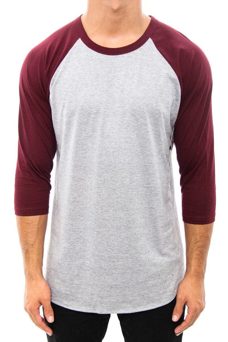 AS Colour AS Colour 3/4 Raglan Tee Grey/burgundy | Culture Kings Online Store