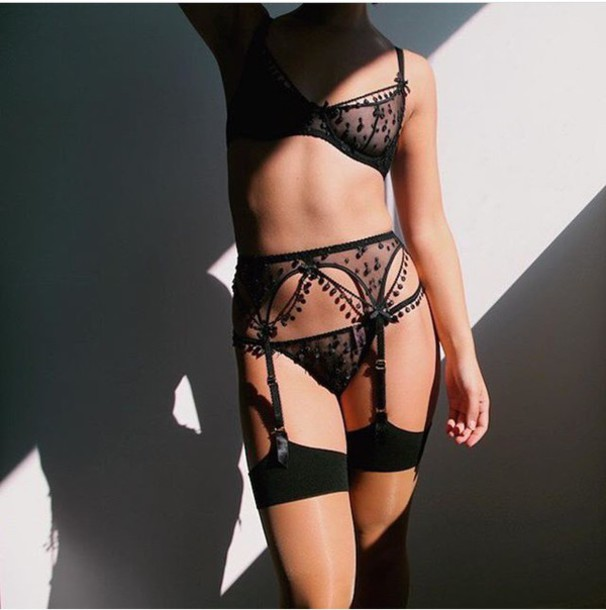 underwear black lingerie suspenders bra bralette