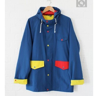 jacket colorful blue yellow red pockets hoodie