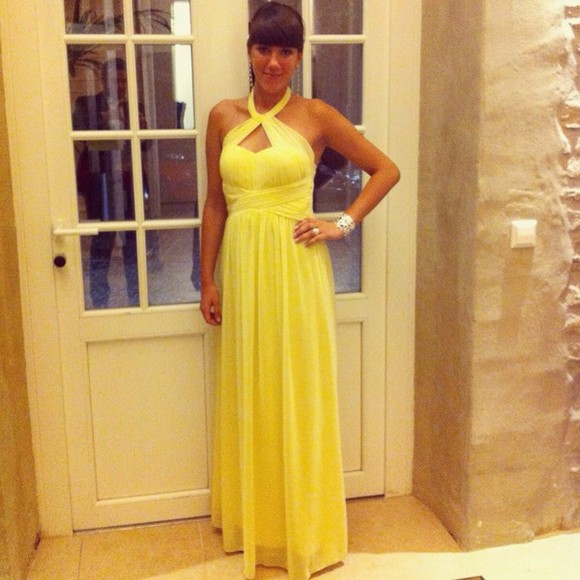 dress prom dress yellow long prom dresses