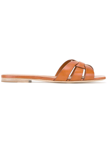 Saint Laurent strappy women sandals strappy sandals leather brown shoes