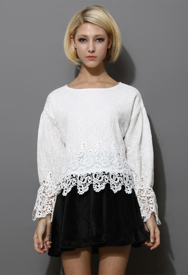 sweater white crochet hemline top