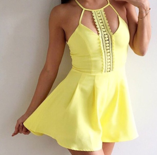 Spaghetti Strap Yellow Dress