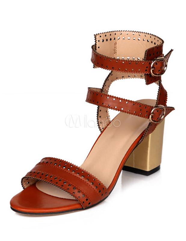 Retro Yellow PU Leather Chunky Heel Gladiator Sandals For Woman