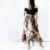 skirt,silk skirt,bohemian,maxi skirt,beige skirt,boho skirt,boho,romantic dress,romantic,floral,floral skirt,black flowers,flowers skirt,silky,nude silk,printed silk skirt,coachella,country style,country,summer dress,summer