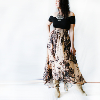skirt silk skirt bohemian bohemian style maxi skirt beige skirt boho skirt boho romantic dress romantic floral floral skirt black flowers flowers print flowers skirt silky nude silk printed silk skirt coachella country style country country clothes country girl summer dress summer