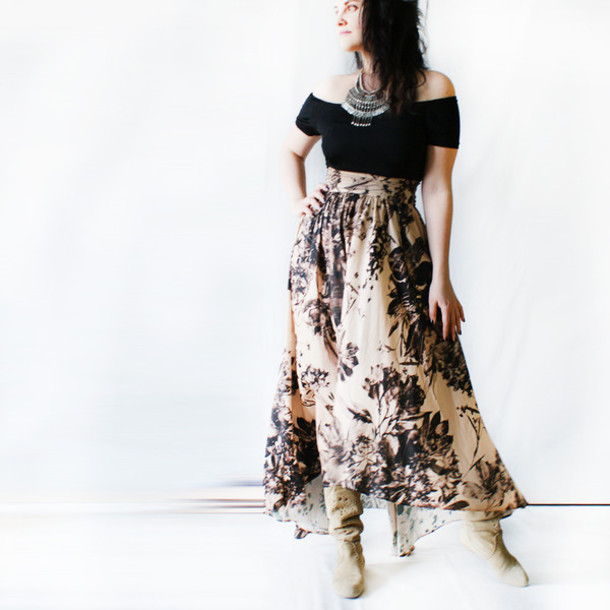 Skirt Silk Skirt Bohemian Bohemian Maxi Skirt Beige Skirt Boho Skirt Boho Romantic Dress ...