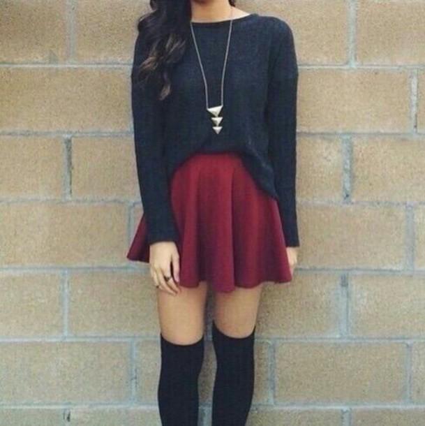 sweater skirt necklace knee high socks skirt