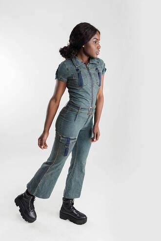 jumpsuit denim overalls belt