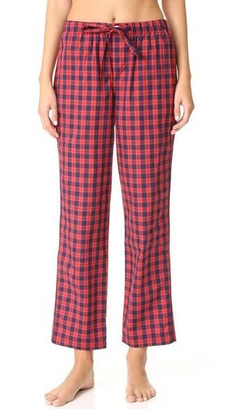 pants pajama pants plaid navy red
