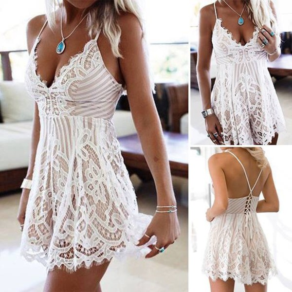 1a056cbbec6f Sweet Summer Night playsuit in white lace Produced By SHOWPO