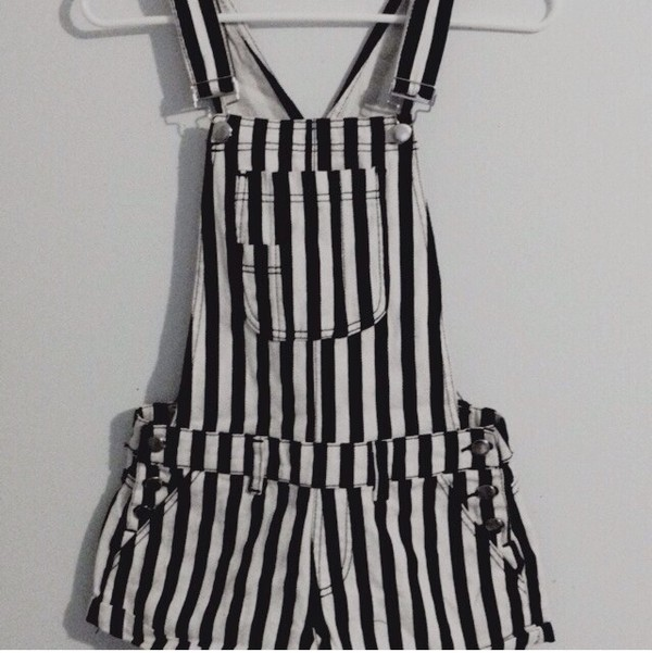 dress stripes alternative blogger bohemian boho cute denim dungarees feathers girly grunge indie hippie hipster instagram kawaii rock summer tumblr vintage shorts black white fashion salopette salopete jumpsuit