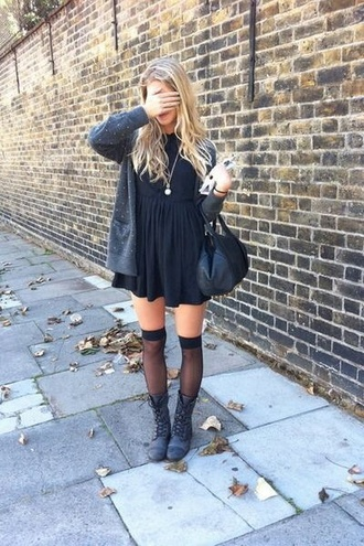 dress cardigan stockings bag fashion boots fall outfits