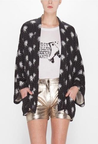 jacket kimono black palm tree print claudie pierlot silk