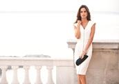 dress,black,fashion,herve leger,bandage dress,white,white dress,black dress,pencil dress,front zipper,v neck dress