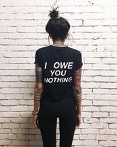 shirt,black,sassy,writing,white writing,back print,graphic tee,t-shirt